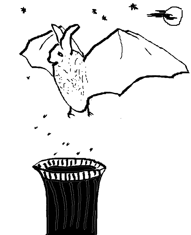 A Bat eating insects